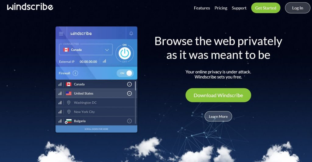 Windscribe best free VPN