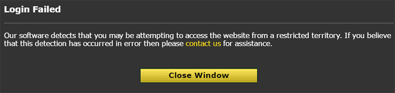 Error message betting site blocked