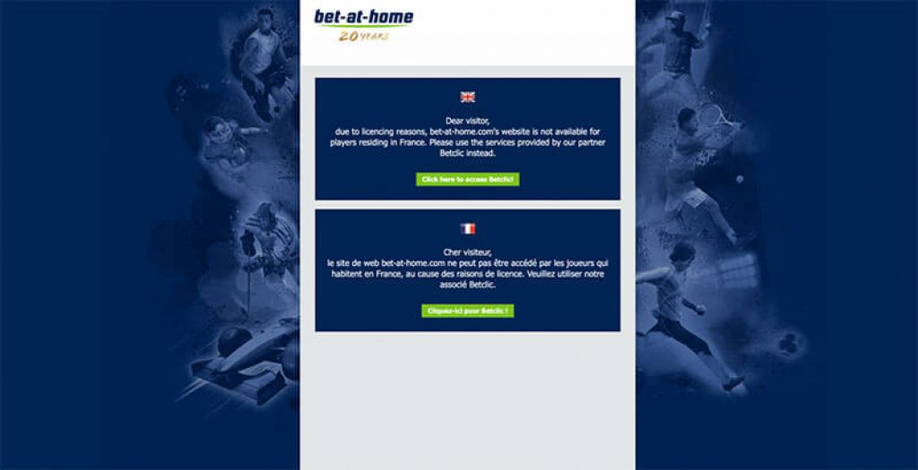 Bet at Home restricted