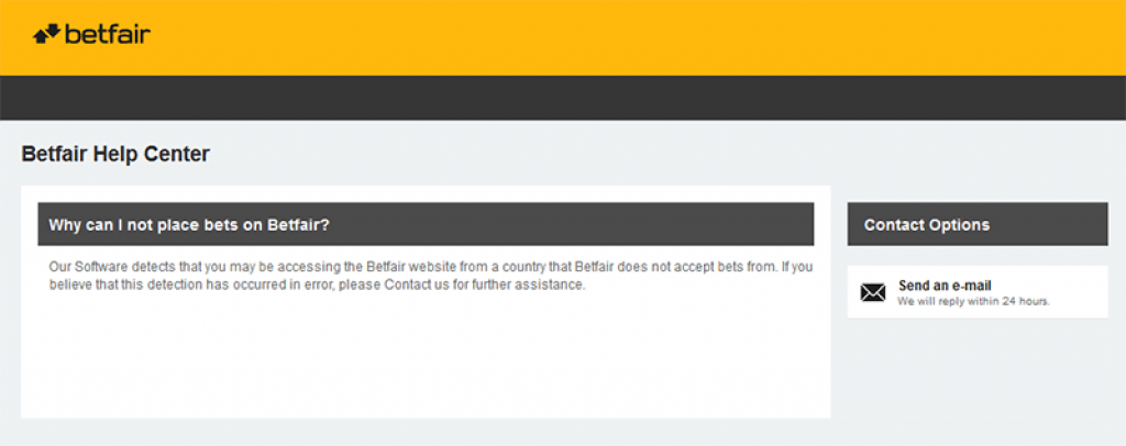 Betfair blocked