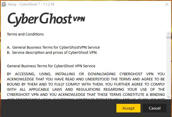 CyberGhost Installation 1