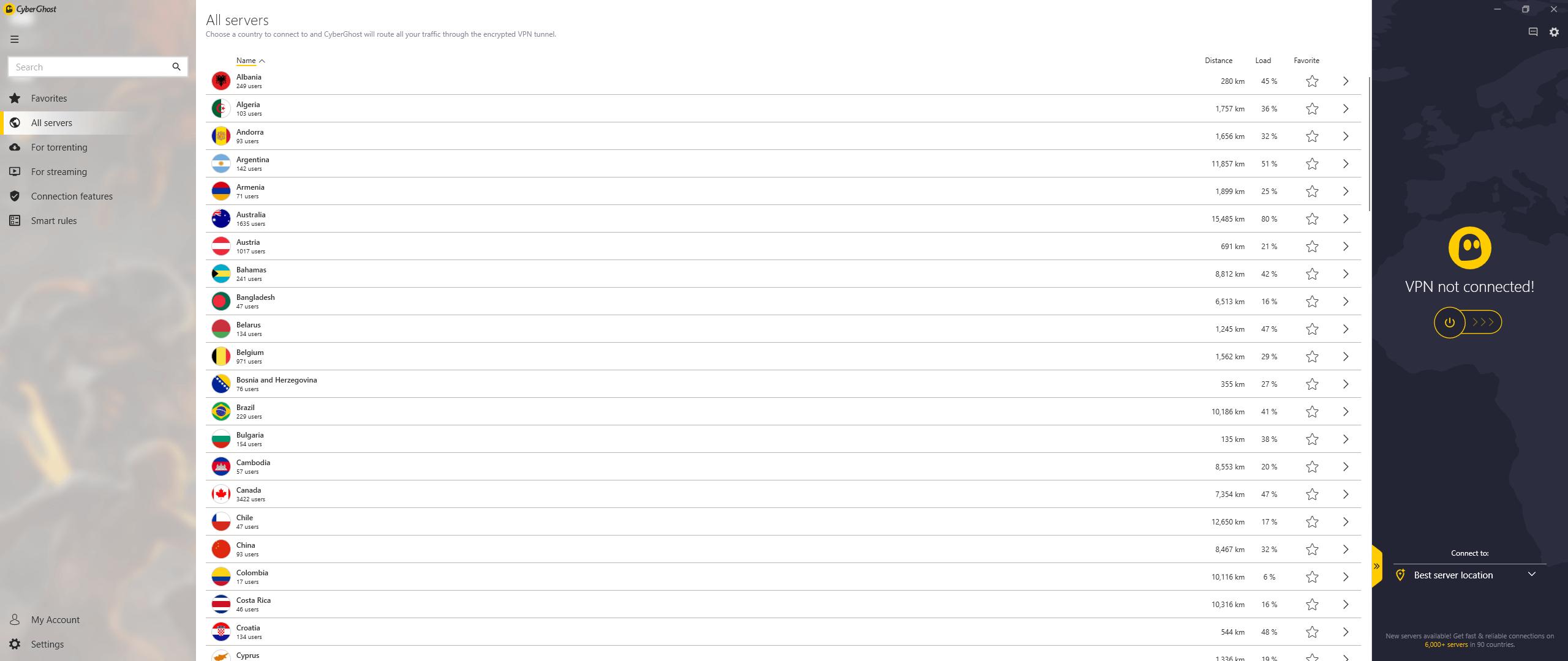 CyberGhost Windows App 1