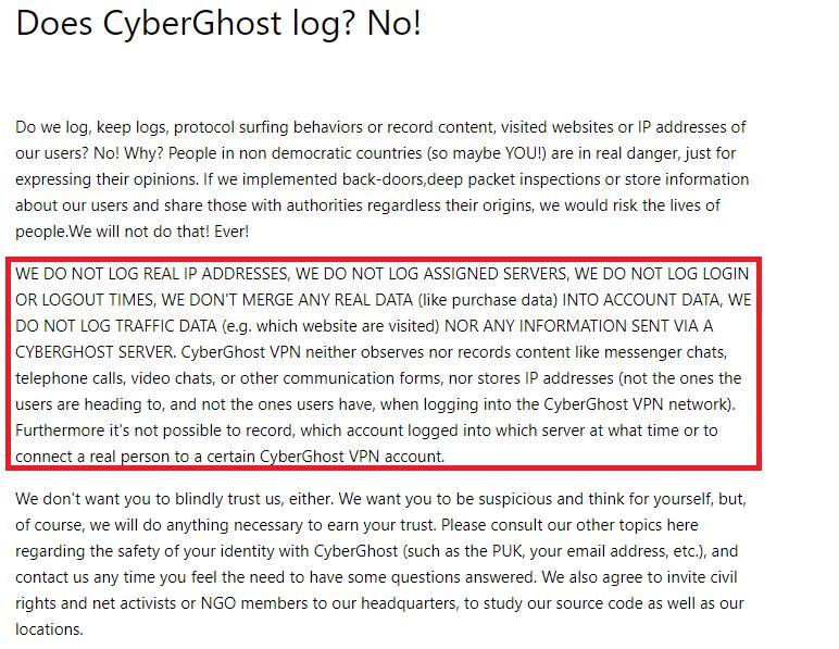 CyberGhost Zero Log Policy