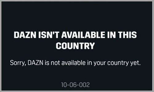 DAZN not available in your country