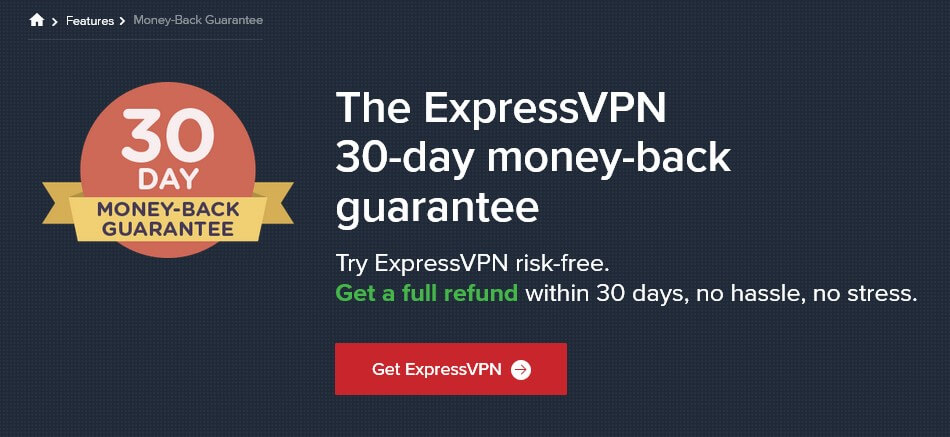 ExpressVPN 30-day money back guarantee