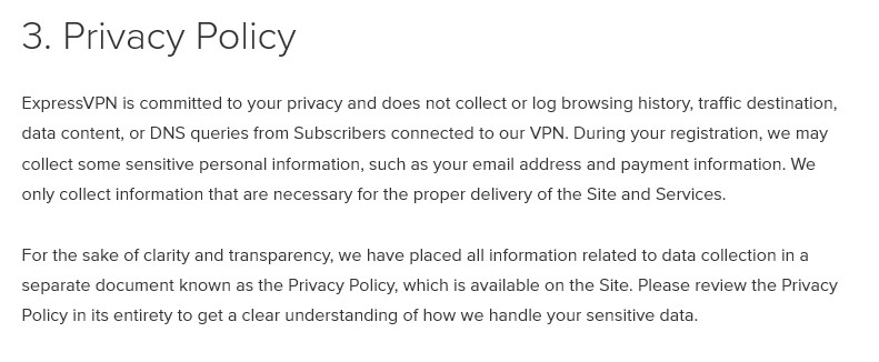 ExpressVPN privacy policy