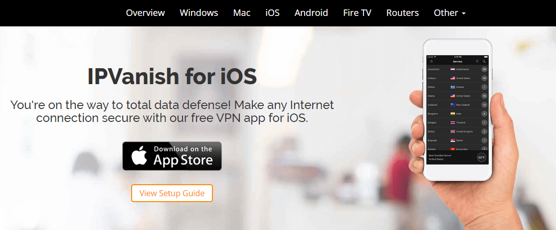 IPVanish iPhone