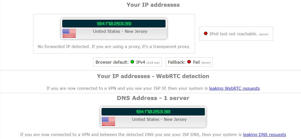 NordVPN Leak Test