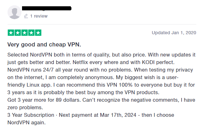 NordVPN TrustPilot Review