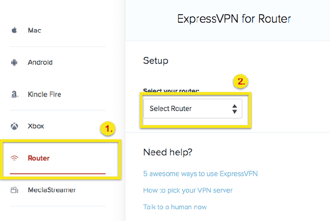 VPN configuration on a router