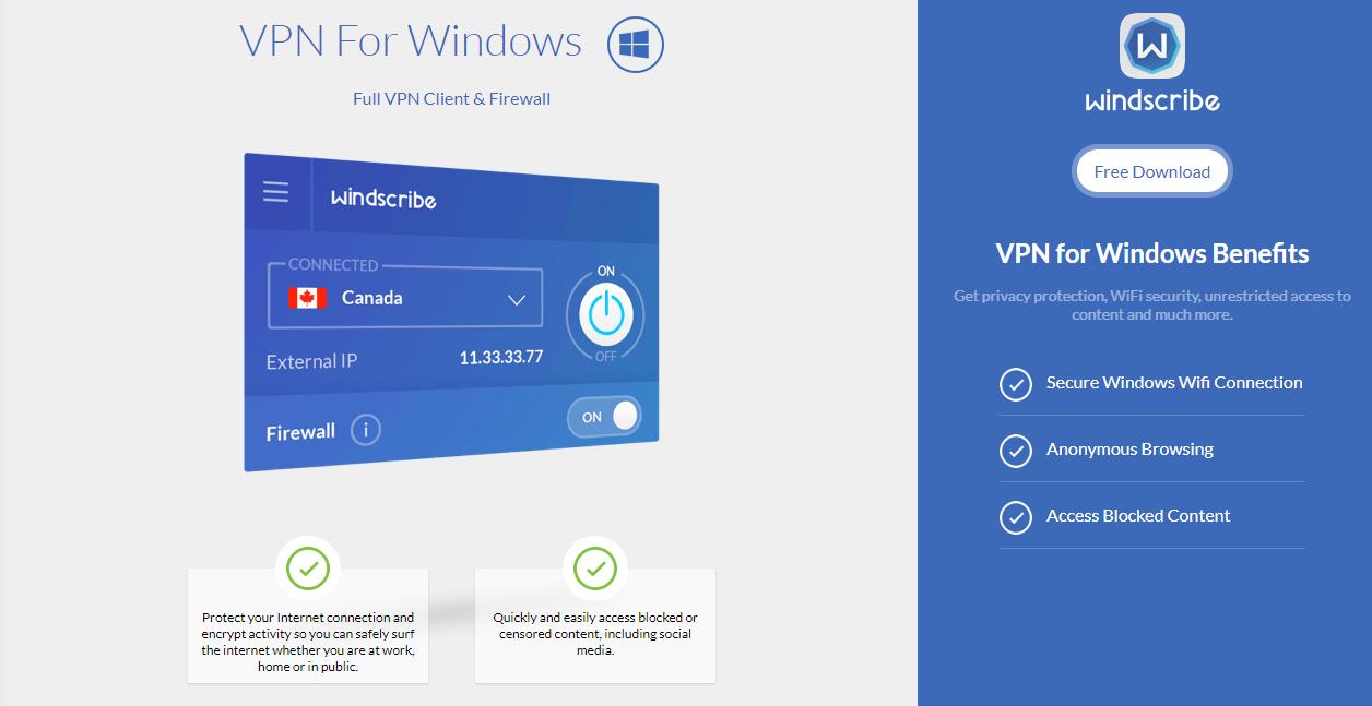 Windscribe Windows