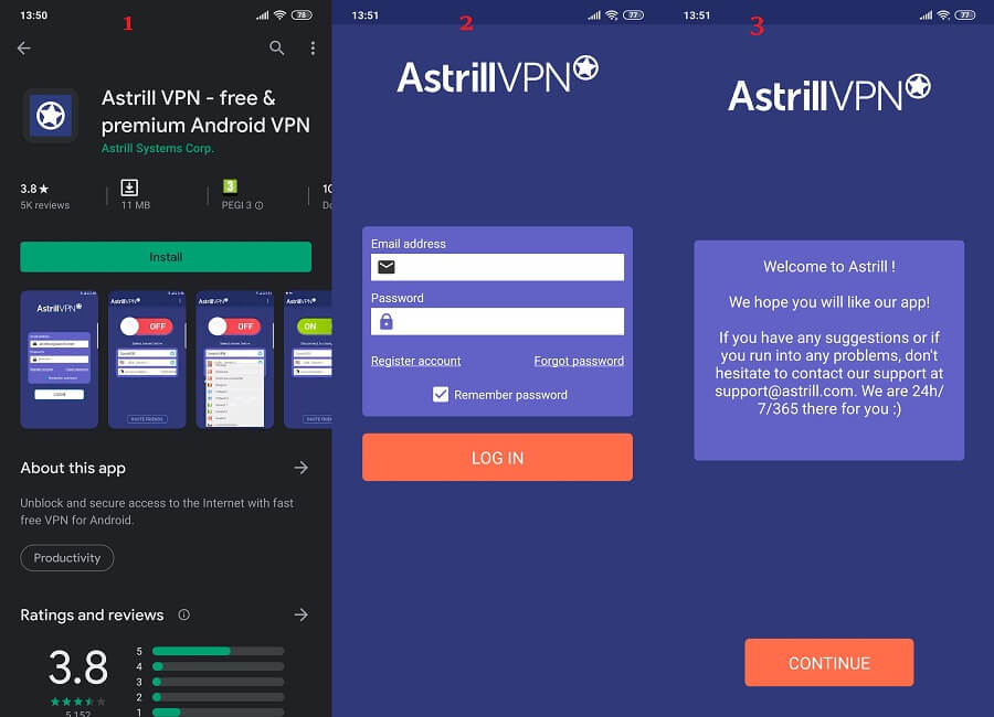 Astrill VPN Android 1, 2, 3
