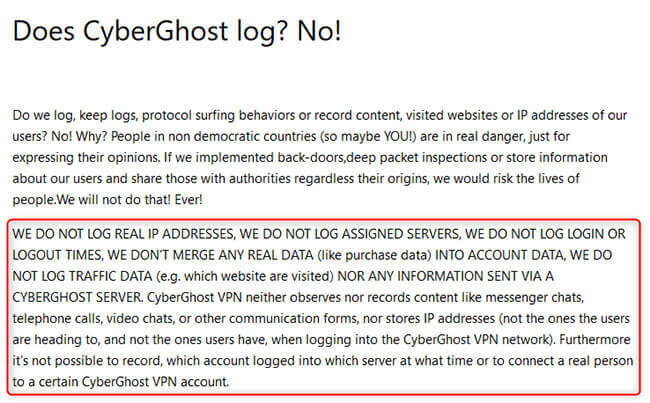 CyberGhost log policy