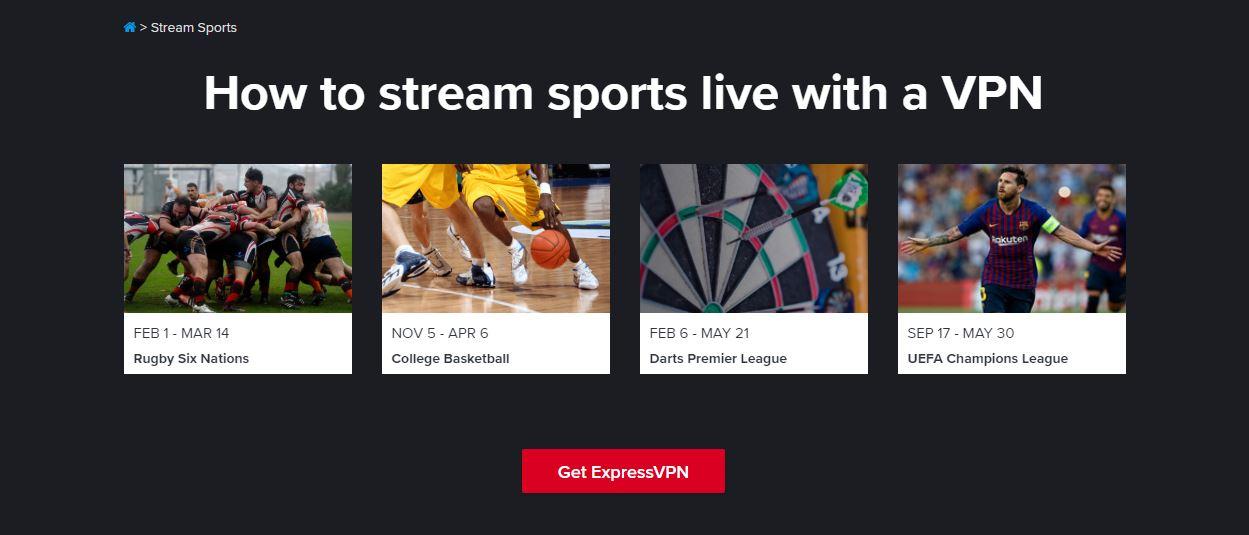 ExpressVPN Sports