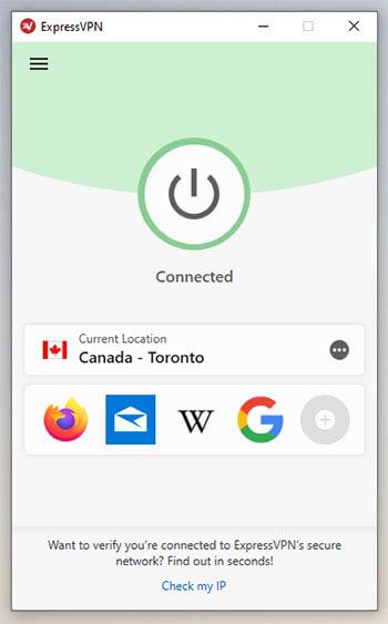 ExpressVPN connected Canadian server