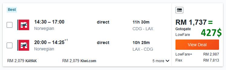 Flight Paris LAX with Malaysian IP address