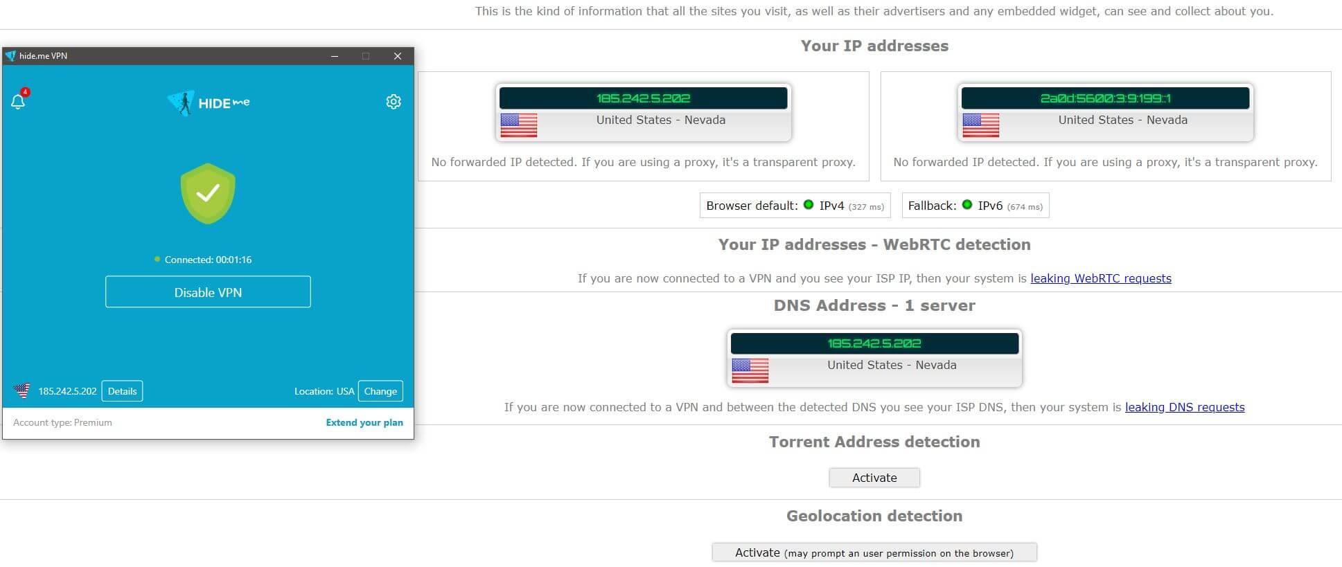 Hide.me IP Leak Test
