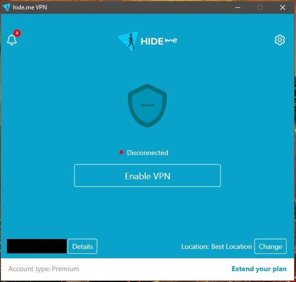 Hide.me Windows App Disconnected