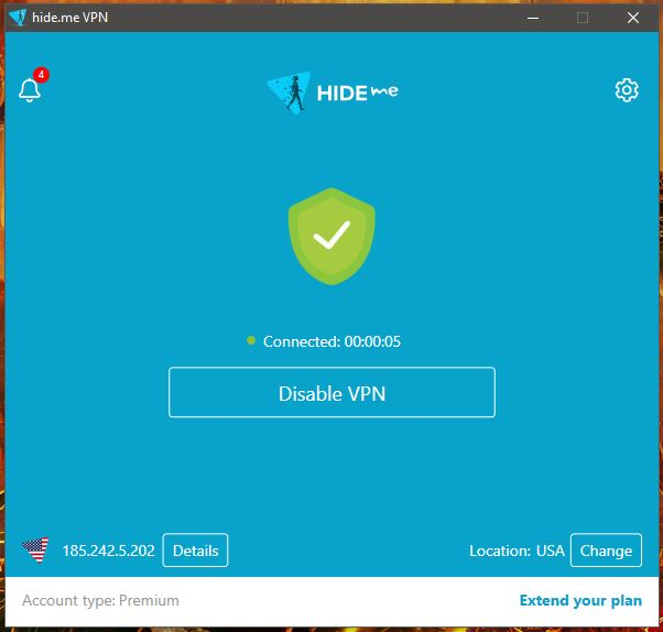 Hide.me Windows Connected