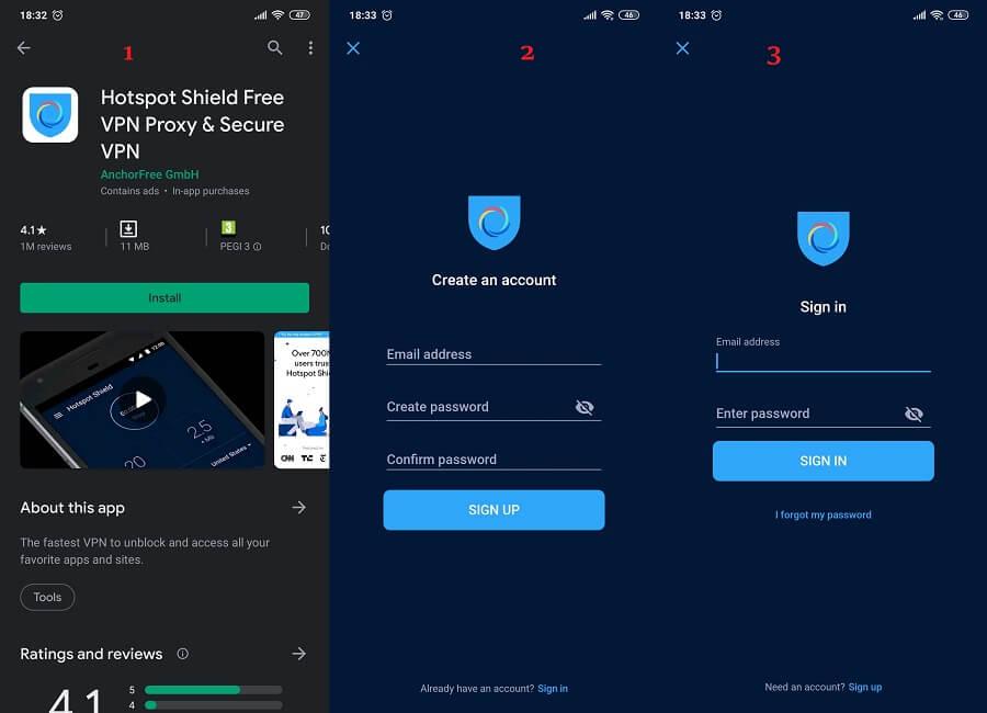 Hotspot Shield Android 1, 2, 3