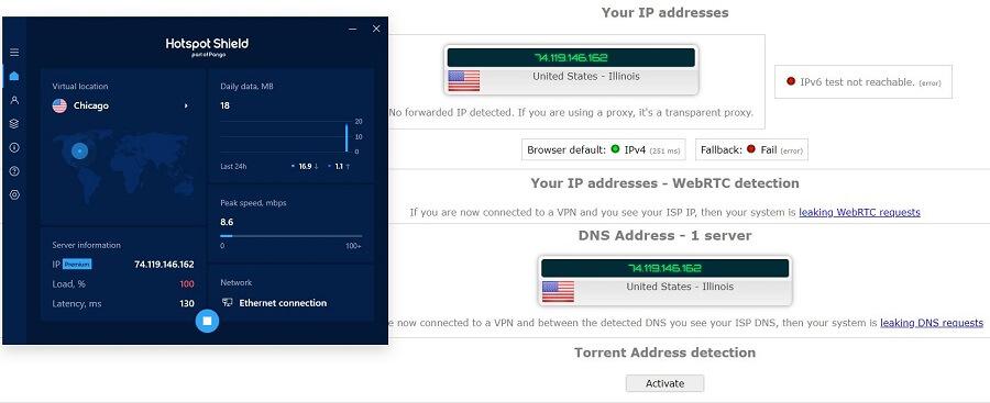 Hotspot Shield IP Leak Test