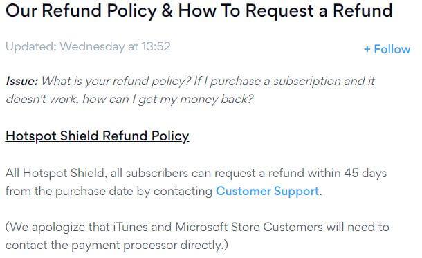 Hotspot Shield Refund Policy