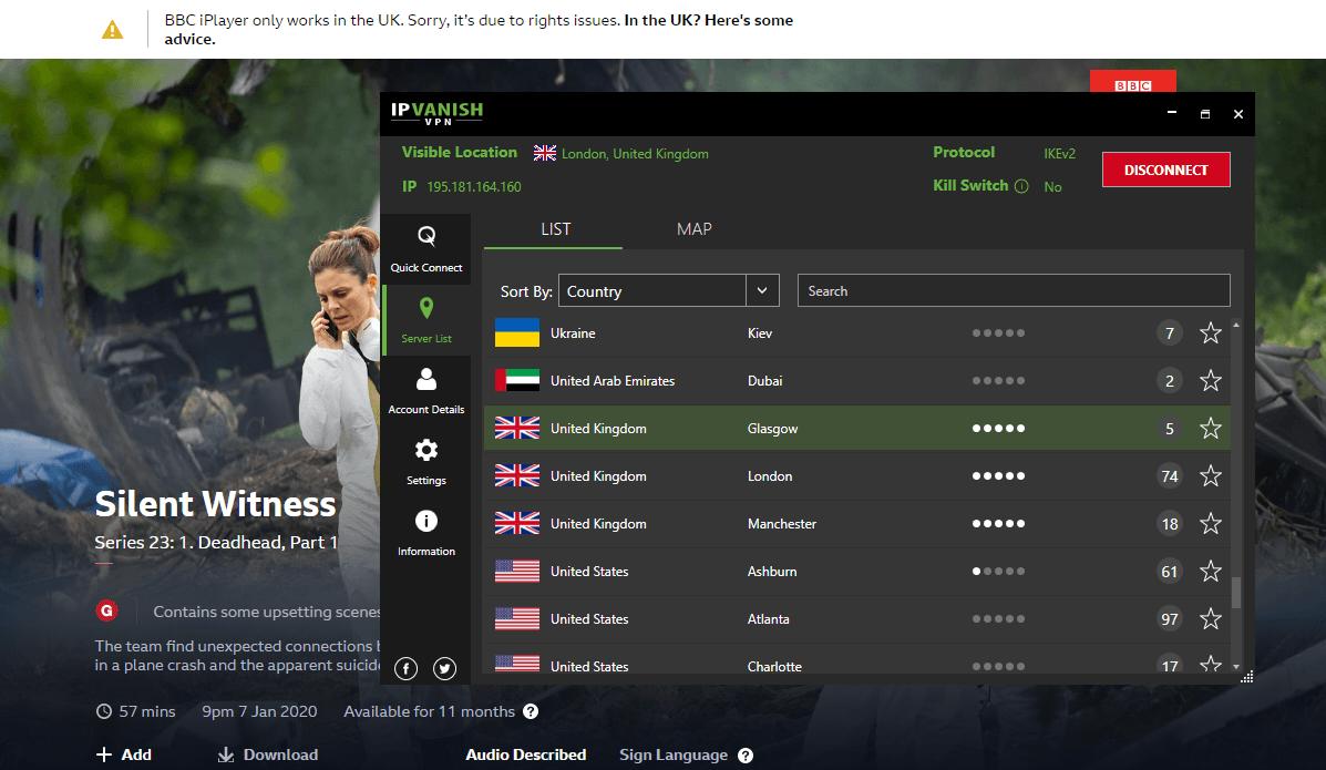 IPVanish BBC iPlayer