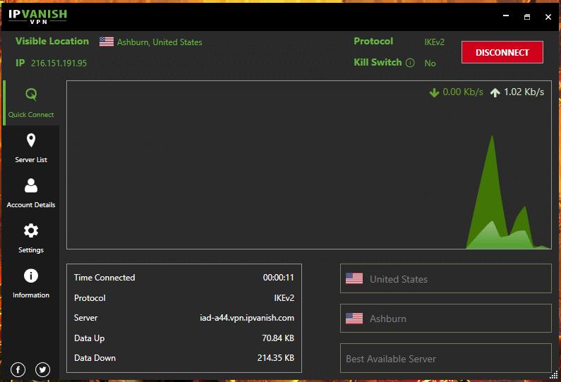 IPVanish WIndows Connected