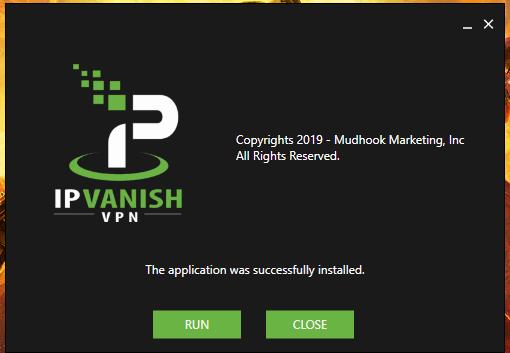 IPVanish Windows installed