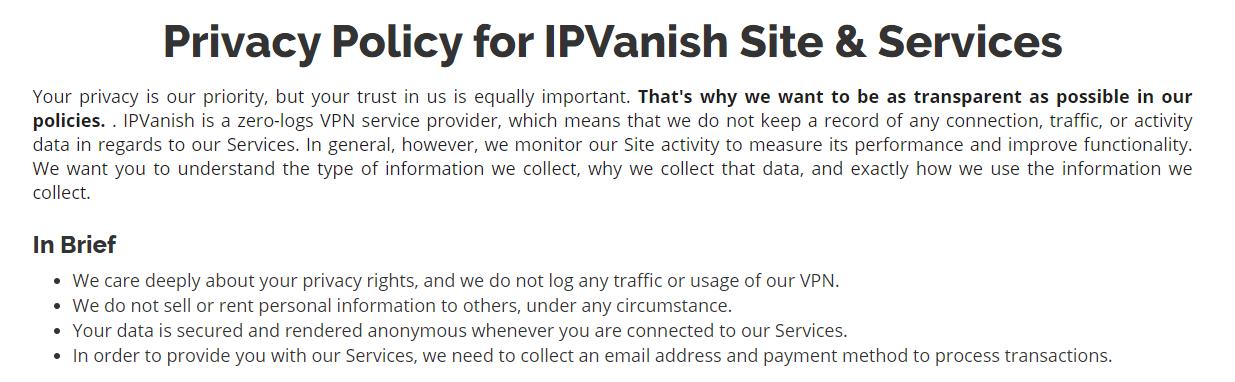 IPVanish Zero-Log Policy