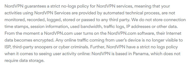 NordVPN log policy