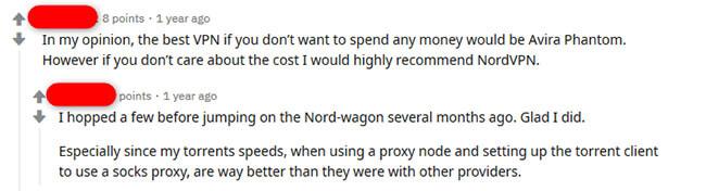 NordVPN reddit comment