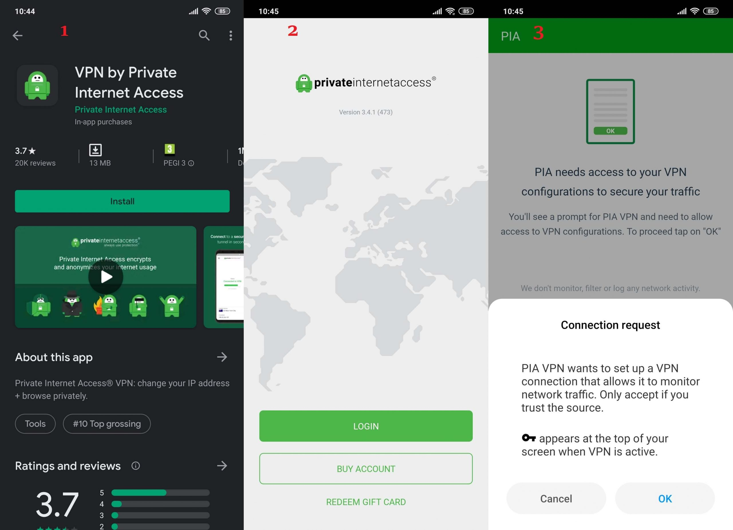 PIA Android 1, 2, 3
