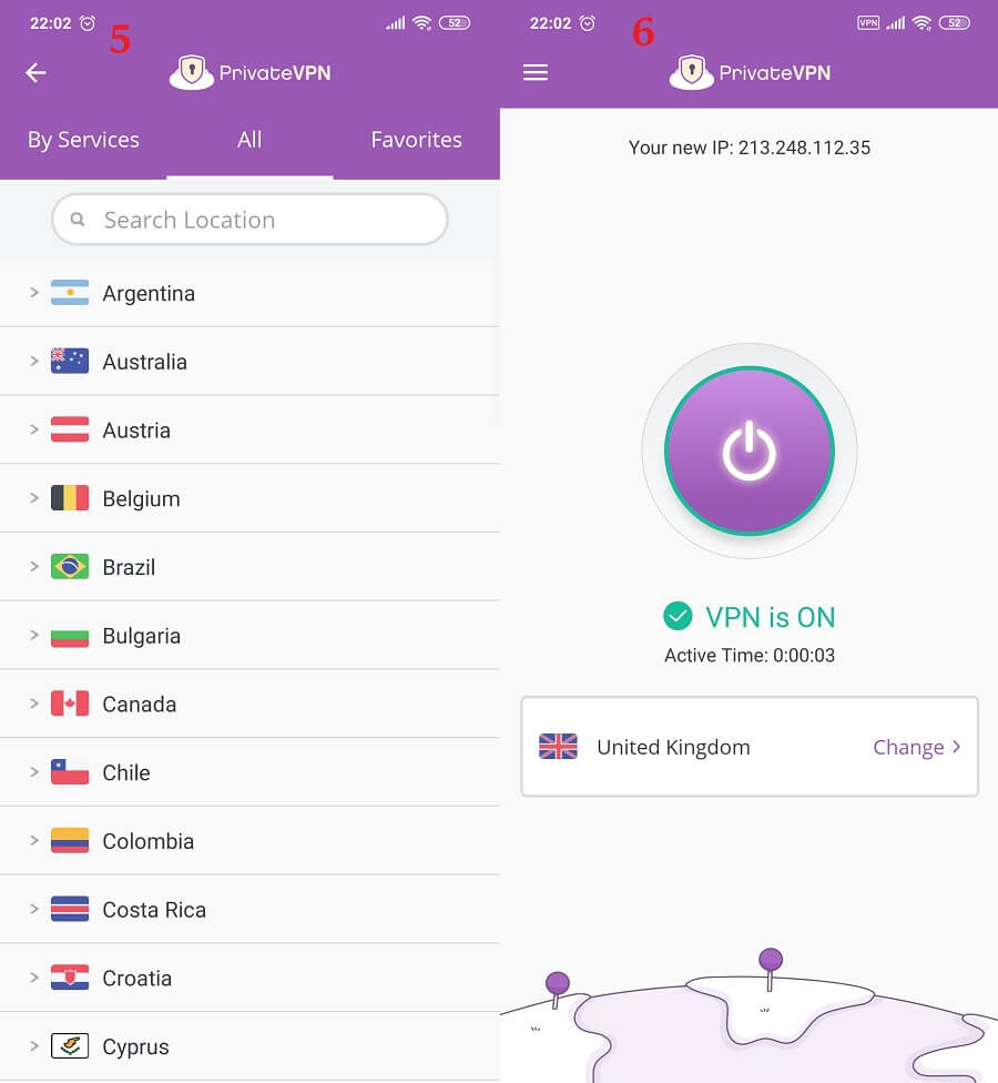 PrivateVPN Android 5, 6