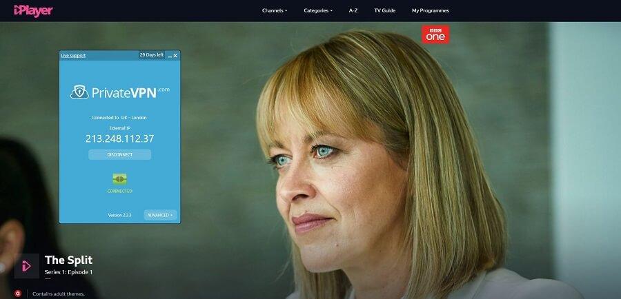 PrivateVPN BBC iPlayer