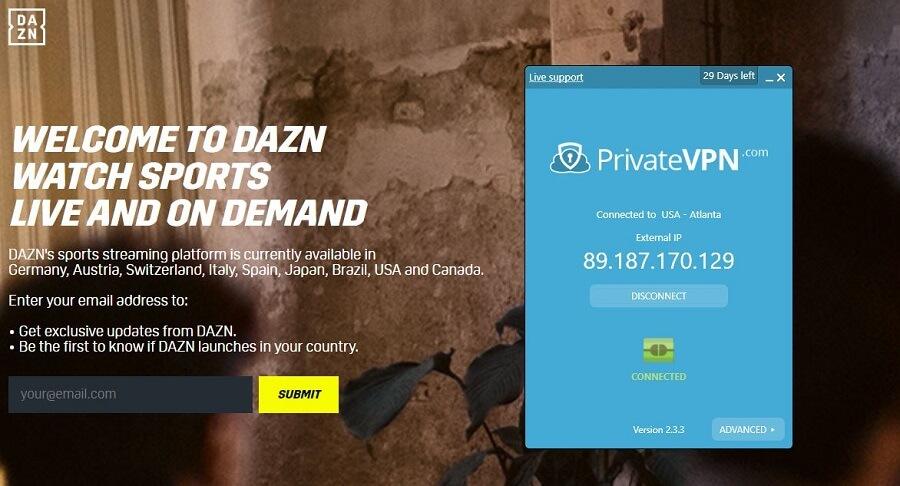 PrivateVPN DAZN