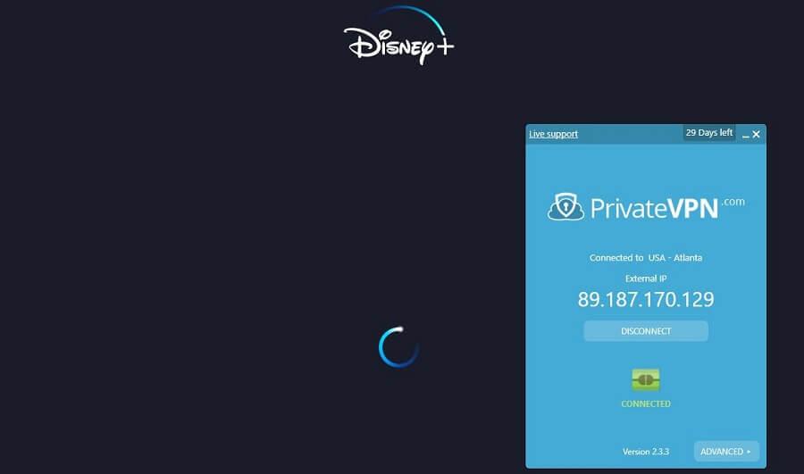 PrivateVPN Disney+