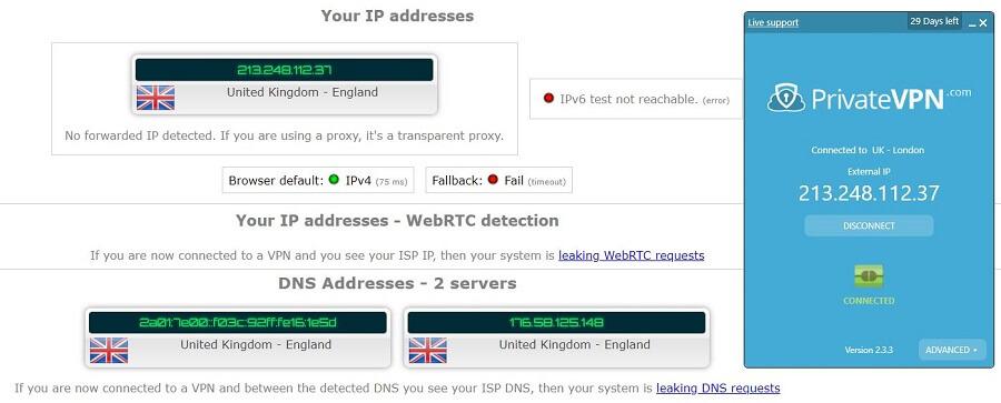 PrivateVPN IP LEAK TEST