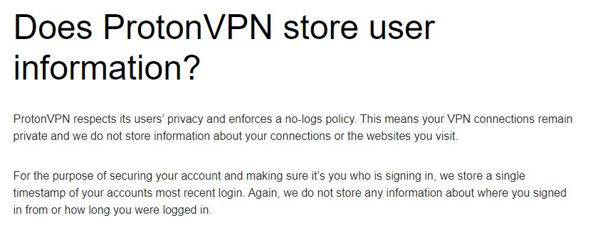 ProtonVPN Zero Log Policy