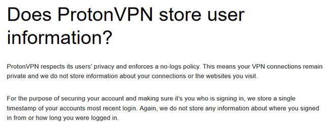 ProtonVPN log policy