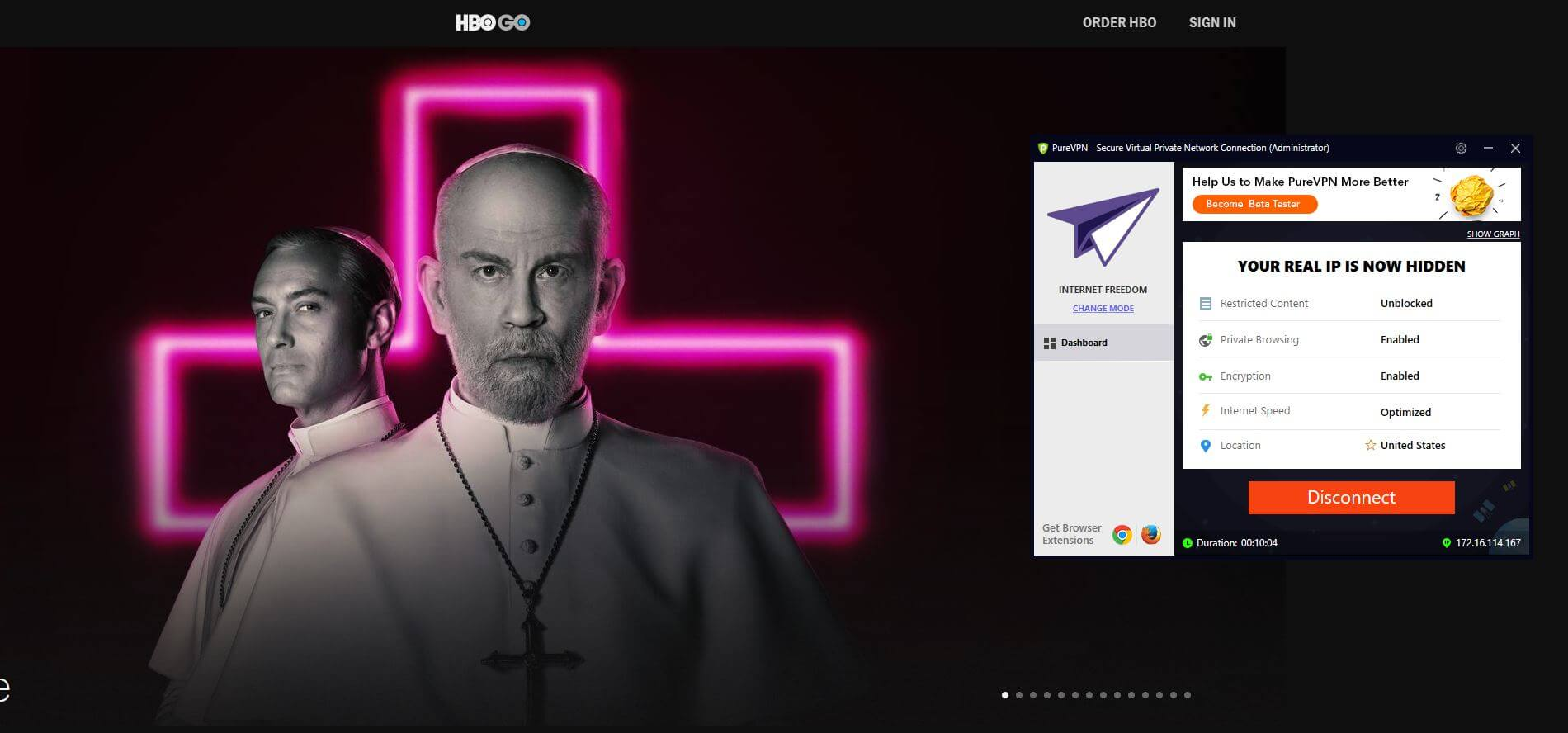 PureVPN HBO GO
