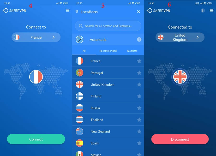 SaferVPN Android 4, 5, 6