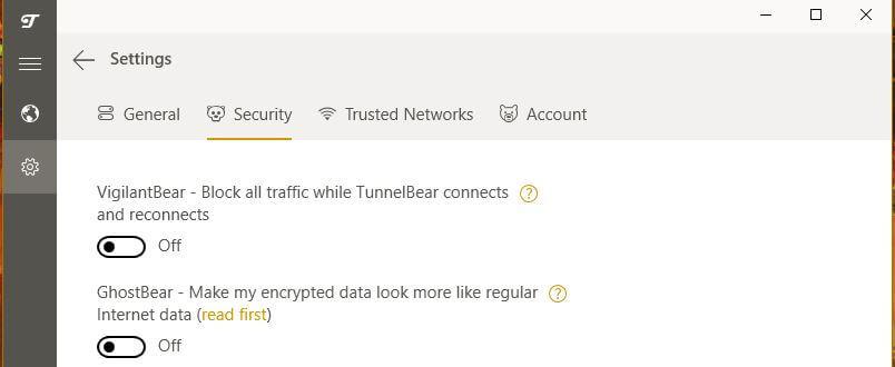 TunnelBear Special Functionalities