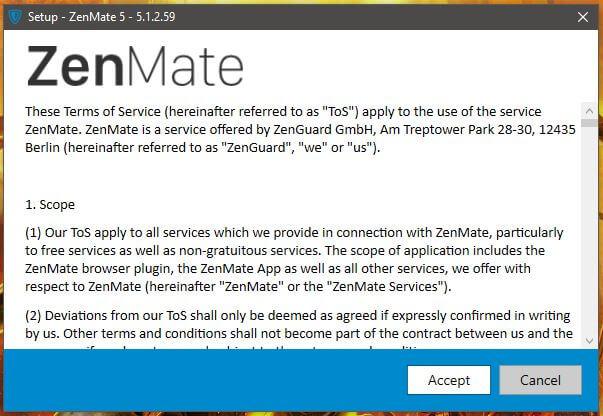 ZenMate Windows Setup 1