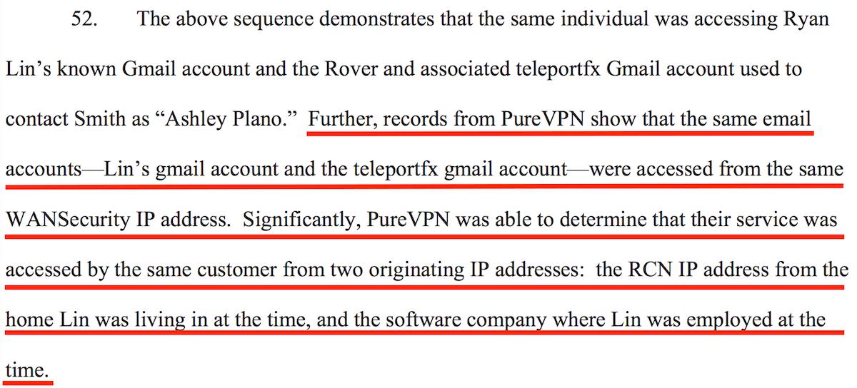 PureVPN Court Document