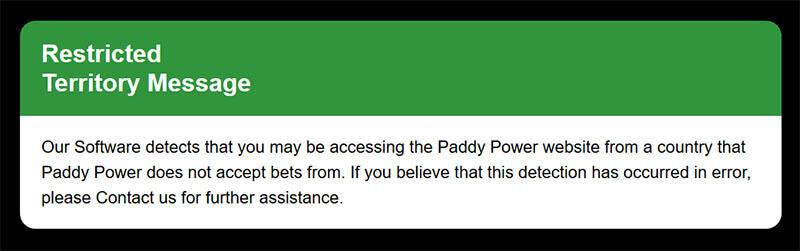 Error message Paddy Power