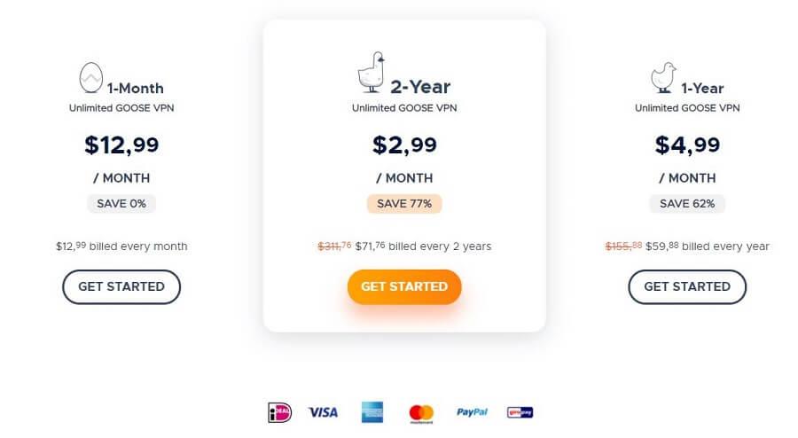 Goose VPN Pricing