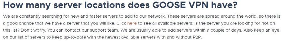 Goose VPN Servers