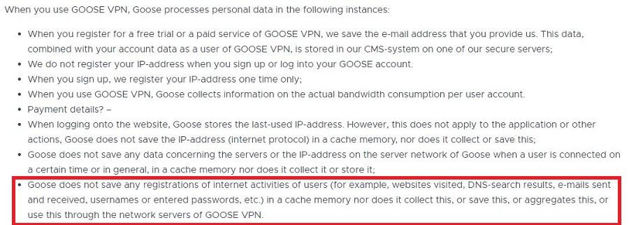 Goose VPN Zero Log Policy 2
