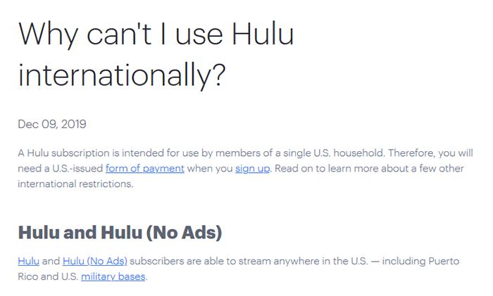 Hulu abroad statement
